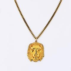 David Webb DAVID WEBB 1970S 18K YELLOW GOLD LION HEAD ON A FRANCO CHAIN MEDALLION PENDANT - 1796941