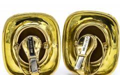David Webb DAVID WEBB 1970S PLATINUM 18K YELLOW GOLD GOLD BLACK ENAMEL EARRINGS - 1796890