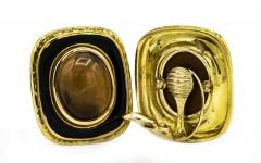 David Webb DAVID WEBB 1970S PLATINUM 18K YELLOW GOLD GOLD BLACK ENAMEL EARRINGS - 1796892