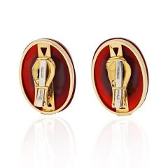 David Webb DAVID WEBB CARNELIAN PLATINUM 18K YELLOW GOLD DIAMOND CLIP EARRINGS - 1786290