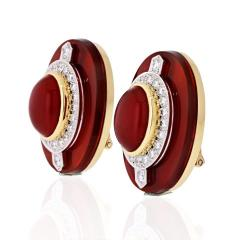 David Webb DAVID WEBB CARNELIAN PLATINUM 18K YELLOW GOLD DIAMOND CLIP EARRINGS - 1786291