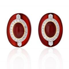 David Webb DAVID WEBB CARNELIAN PLATINUM 18K YELLOW GOLD DIAMOND CLIP EARRINGS - 1786292