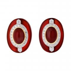 David Webb DAVID WEBB CARNELIAN PLATINUM 18K YELLOW GOLD DIAMOND CLIP EARRINGS - 1788337