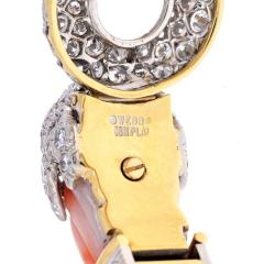 David Webb DAVID WEBB CORAL 18K YELLOW GOLD ANGEL SKIN CHIMERAL DIAMOND BRACELET - 1941066