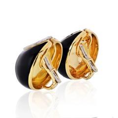 David Webb DAVID WEBB CRESCENT PLATINUM 18K YELLOW GOLD BLACK ENAMEL DIAMONDS EARRINGS - 1796934