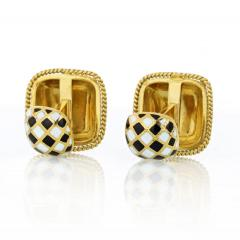 David Webb DAVID WEBB ENAMEL 18K YELLOW GOLD BLACK WHITE CUFF LINKS - 1786238
