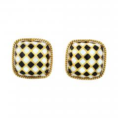 David Webb DAVID WEBB ENAMEL 18K YELLOW GOLD BLACK WHITE CUFF LINKS - 1788324
