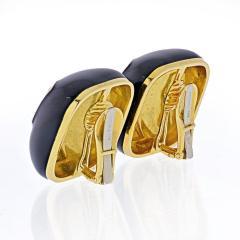 David Webb DAVID WEBB PLATINUM 18K YELLOW GOLD BLACK ENAMEL CUSHION CLIP ON EARRINGS - 1932146