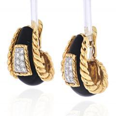 David Webb DAVID WEBB PLATINUM 18K YELLOW GOLD BLACK ENAMEL DIAMOND EARRINGS - 1932107