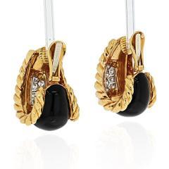 David Webb DAVID WEBB PLATINUM 18K YELLOW GOLD BLACK ENAMEL DIAMOND EARRINGS - 1932108