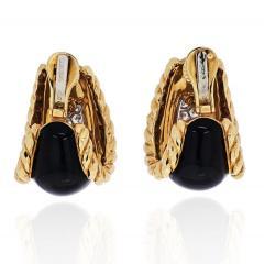 David Webb DAVID WEBB PLATINUM 18K YELLOW GOLD BLACK ENAMEL DIAMOND EARRINGS - 1932109