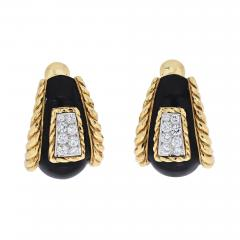 David Webb DAVID WEBB PLATINUM 18K YELLOW GOLD BLACK ENAMEL DIAMOND EARRINGS - 1934872