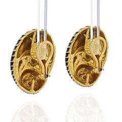 David Webb DAVID WEBB PLATINUM 18K YELLOW GOLD BLACK ENAMEL SEASHELL EARRINGS - 2039447