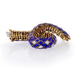 David Webb DAVID WEBB PLATINUM 18K YELLOW GOLD BLUE ENAMEL AND DIAMOND BRACELET - 1796911