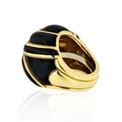 David Webb DAVID WEBB PLATINUM 18K YELLOW GOLD BOMBE BLACK ENAMEL RING - 1796947