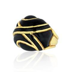 David Webb DAVID WEBB PLATINUM 18K YELLOW GOLD BOMBE BLACK ENAMEL RING - 1796950