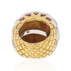 David Webb DAVID WEBB PLATINUM 18K YELLOW GOLD CHECKERBOARD DOME RING - 1932130
