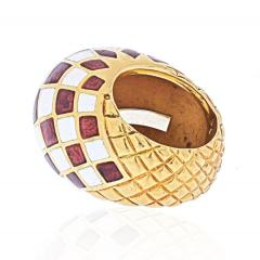 David Webb DAVID WEBB PLATINUM 18K YELLOW GOLD CHECKERBOARD DOME RING - 1932131