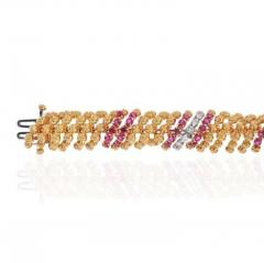 David Webb DAVID WEBB PLATINUM 18K YELLOW GOLD DIAMOND AND RUBY BRACELET - 1963056