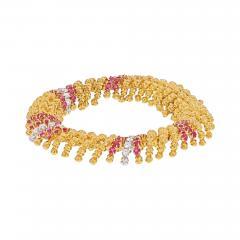 David Webb DAVID WEBB PLATINUM 18K YELLOW GOLD DIAMOND AND RUBY BRACELET - 1965665