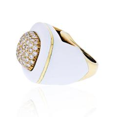 David Webb DAVID WEBB PLATINUM 18K YELLOW GOLD DIAMOND WHITE ENAMEL RING - 1902633