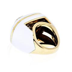 David Webb DAVID WEBB PLATINUM 18K YELLOW GOLD DIAMOND WHITE ENAMEL RING - 1902634