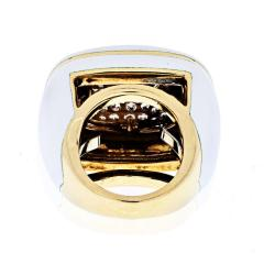 David Webb DAVID WEBB PLATINUM 18K YELLOW GOLD DIAMOND WHITE ENAMEL RING - 1902635