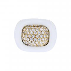 David Webb DAVID WEBB PLATINUM 18K YELLOW GOLD DIAMOND WHITE ENAMEL RING - 1904930
