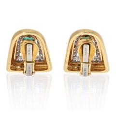 David Webb DAVID WEBB PLATINUM 18K YELLOW GOLD EMERALD RUBY AND DIAMOND CLIP EARRINGS - 2110420