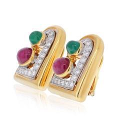 David Webb DAVID WEBB PLATINUM 18K YELLOW GOLD EMERALD RUBY AND DIAMOND CLIP EARRINGS - 2110421