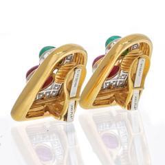 David Webb DAVID WEBB PLATINUM 18K YELLOW GOLD EMERALD RUBY AND DIAMOND CLIP EARRINGS - 2110422