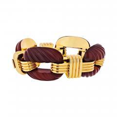David Webb DAVID WEBB PLATINUM 18K YELLOW GOLD FLUTED CARNELIAN LINK BRACELET - 1788333