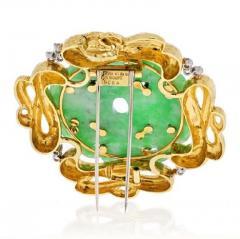 David Webb DAVID WEBB PLATINUM 18K YELLOW GOLD FRENCH JADE BROOCH PENDANT - 1963036