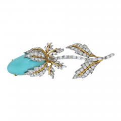 David Webb DAVID WEBB PLATINUM 18K YELLOW GOLD GENUINE TURQUOISE DIAMOND TULIP BROOCH - 2030186