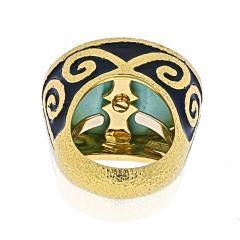 David Webb DAVID WEBB PLATINUM 18K YELLOW GOLD LIGHT BLUE TURQUOISE VINTAGE RING - 1932141