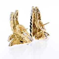 David Webb DAVID WEBB PLATINUM 18K YELLOW GOLD ORIGINAL BLACK ENAMEL AND DIAMOND EARRINGS - 1902659