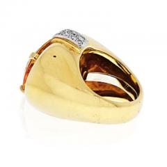 David Webb DAVID WEBB PLATINUM 18K YELLOW GOLD OVAL CITRINE AND DIAMOND RING - 1963020