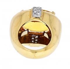 David Webb DAVID WEBB PLATINUM 18K YELLOW GOLD OVAL CITRINE AND DIAMOND RING - 1963021
