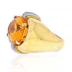 David Webb DAVID WEBB PLATINUM 18K YELLOW GOLD OVAL CITRINE AND DIAMOND RING - 1963022