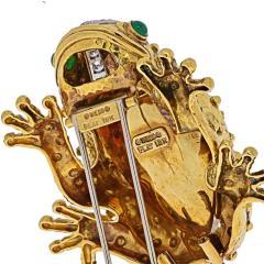 David Webb DAVID WEBB PLATINUM 18K YELLOW GOLD ROCK CRYSTAL FROG BROOCH - 1932133
