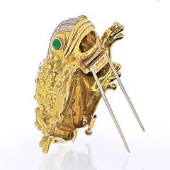 David Webb DAVID WEBB PLATINUM 18K YELLOW GOLD ROCK CRYSTAL FROG BROOCH - 1932135