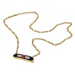 David Webb DAVID WEBB PLATINUM 18K YELLOW GOLD RUBY DIAMOND AND LACQUER PENDANT NECKLACE - 1858643