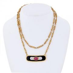 David Webb DAVID WEBB PLATINUM 18K YELLOW GOLD RUBY DIAMOND AND LACQUER PENDANT NECKLACE - 1858644