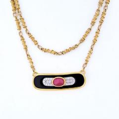 David Webb DAVID WEBB PLATINUM 18K YELLOW GOLD RUBY DIAMOND AND LACQUER PENDANT NECKLACE - 1858646