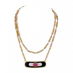 David Webb DAVID WEBB PLATINUM 18K YELLOW GOLD RUBY DIAMOND AND LACQUER PENDANT NECKLACE - 1860484