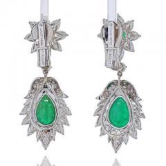 David Webb DAVID WEBB PLATINUM 1970S GREEN EMERALD AND DIAMOND HANGING EARRINGS - 1963049