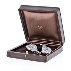 David Webb DAVID WEBB PLATINUM 40 CARAT DIAMOND FEATHER SET OF TWO BROOCHES - 1932100