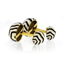 David Webb DAVID WEBB ZEBRA 18K YELLOW GOLD STRIPE CUFF LINKS - 1767494