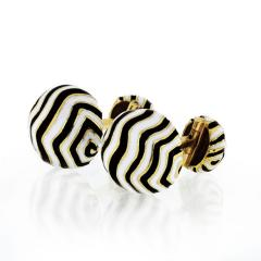 David Webb DAVID WEBB ZEBRA 18K YELLOW GOLD STRIPE CUFF LINKS - 1767496