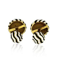 David Webb DAVID WEBB ZEBRA 18K YELLOW GOLD STRIPE CUFF LINKS - 1767497